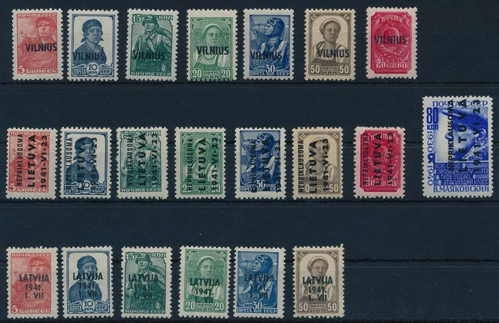 Duitse bezetting Tweede Wereldoorlog 1941 - Lot with better sets/stamps from Latvia and Lithuania