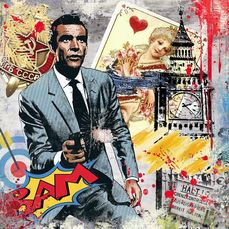 """James Bond 007 - Sean Connery - 艺术品, """"Bam"""" - Original Luc Best - Limited edition with COA"""