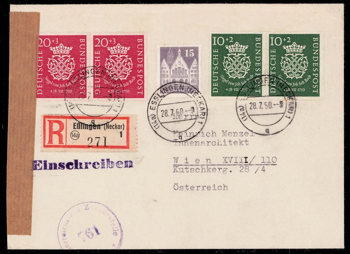 Duitsland - Bondsrepubliek - Bach seal in a pair on registered FDC to Austria - Michel 121,122