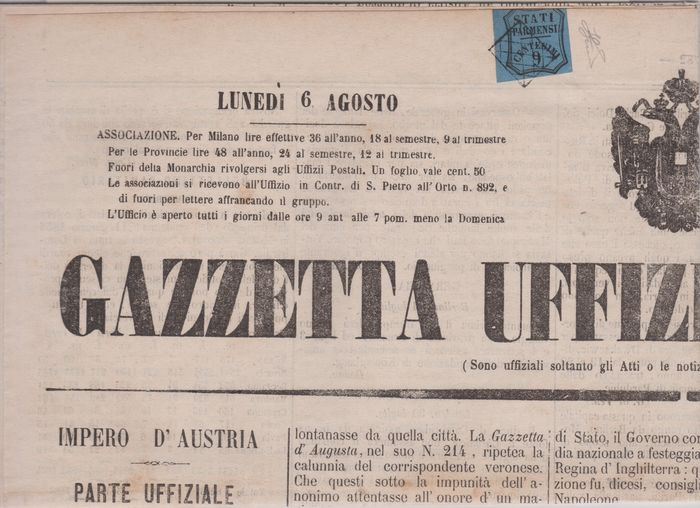 """Italienische antike Staaten - Parma - 9 cents light blue with """"grid"""" cancellation of Piacenza on newspaper 6.8.1855 Gazzetta Ufficiale di - Sassone N. 2"""