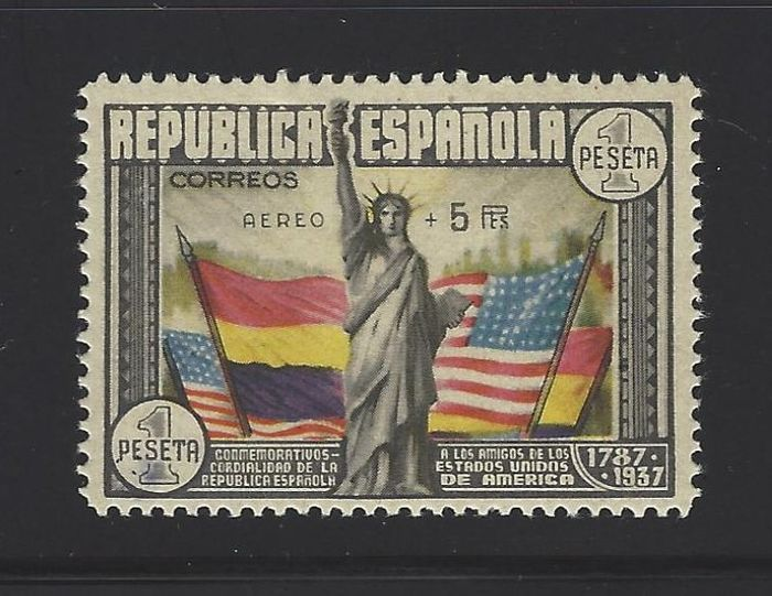 Spanje 1938 - US Constitution stamp with 'Aéreo + 5' - Edifil 765