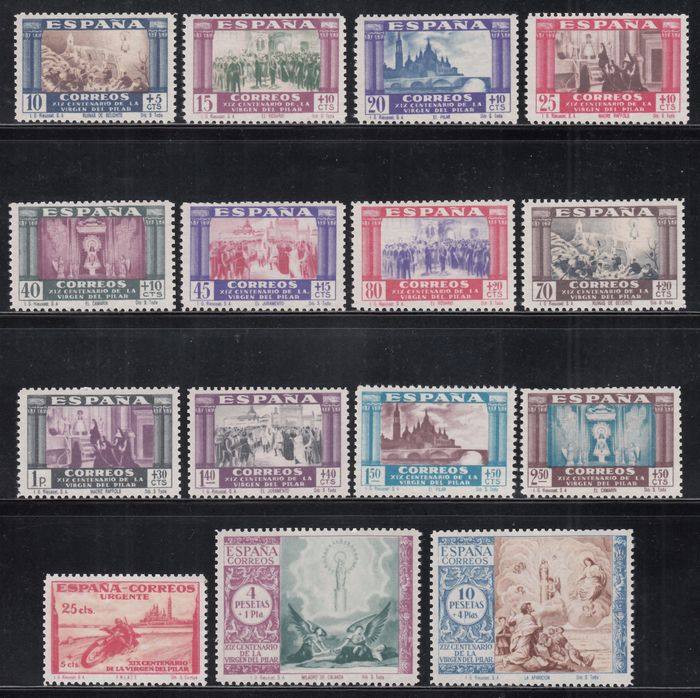 Spanien 1940 - 19th centennial of the coming of Virgen del Pilar (Our Lady of the Pillar) to Zaragoza, complete set - Edifil 889 / 903