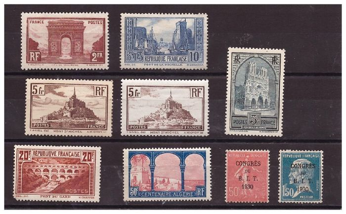 Frankrijk 1929/1931 - Lot of 9 semi-modern mint stamps including a complete series 'Monuments & Sites' + B.I.T Congress - Yvert N°258 au N°265