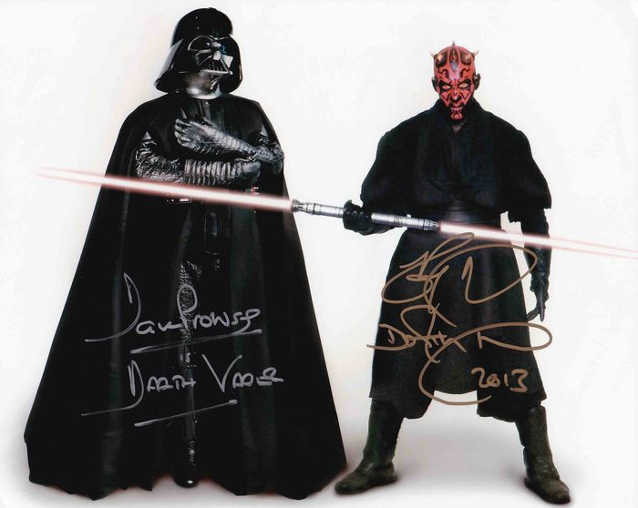 Star Wars - Dave Prowse (+) and Ray Park (Darth Vader and Darth Maul) - Foto, Handtekening, Signed with COA