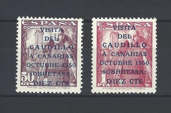 Spain 1950 - Canary Islands post 1st issue with CMF report - Edifil 1083 A/B