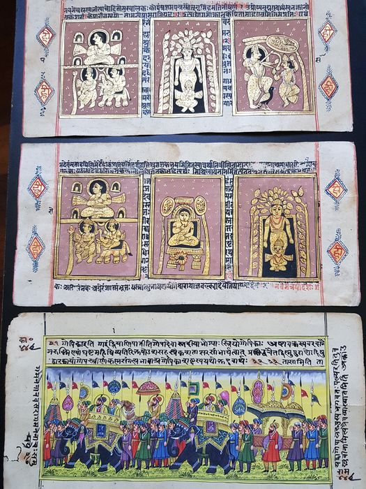 India; Three manuscripts with miniatures - Divinity and rajasthani procession - 1880/1890