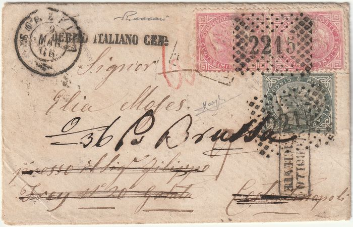Koninkrijk Italië 1866 - DLR 40 c. pair + 5 c. on small cover from Soresina to Constantinople resent to Brescia, very rare - Sassone NN.T16+T20
