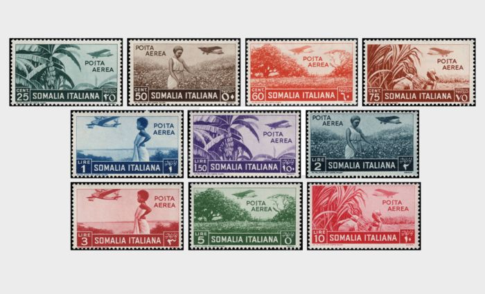 Italiaans Somalië 1936 - Various subjects, airmail complete set of 10 values - Sassone NN. A17/A26