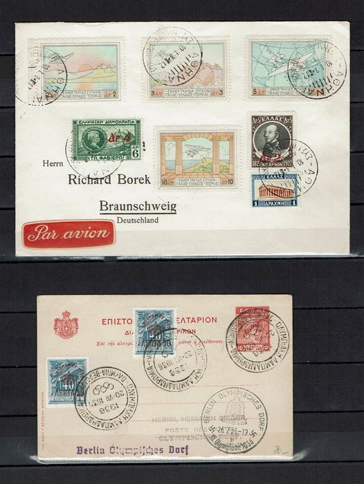 Griekenland 1936/1960 - Greece on stock cards and Olympics cover with commemorative postmark to Berlin