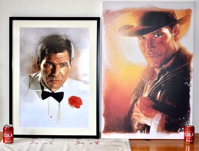 """Indiana Jones - Lot of 2 - Framed """"Temple of Doom"""" Print (80x60 cm) & 'Last Crusade"""" Canvas Print (90x60 cm) - see images and description"""