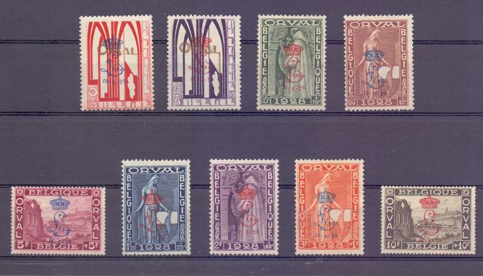 Belgium 1929 - First Orval with a crowned 'L' overprint - OBP / COB 272A/72K