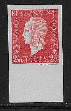 Frankreich 1945 - 2f 40 red stamp, Marianne Dulac. Imperforated - Yvert 693a ND.