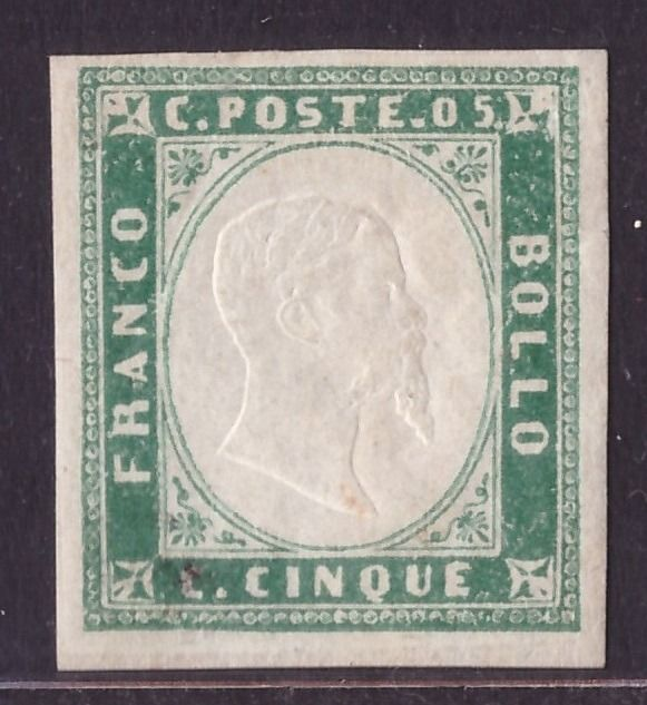 Italiaanse oude staten - Sardinië 1855 - 5 cents emerald green used 4th issue - Sassone N. 13d