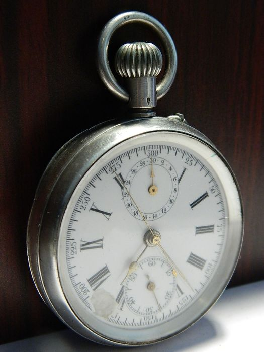 Lemania - 19'' Alfred Lugrin c. 1890 - chronograph pocket watch NO RESERVE PRICE - Heren - 1850-1900