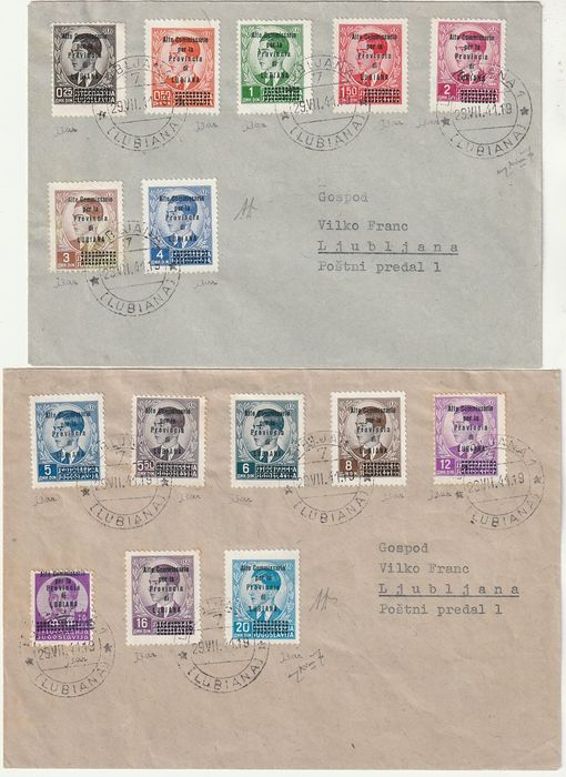 """Ljubljana 1941 - """"Alto Commissario"""" complete set with variety not catalogued on 2 envelopes, certified rarity - Sassone S.8- NN.42/56"""