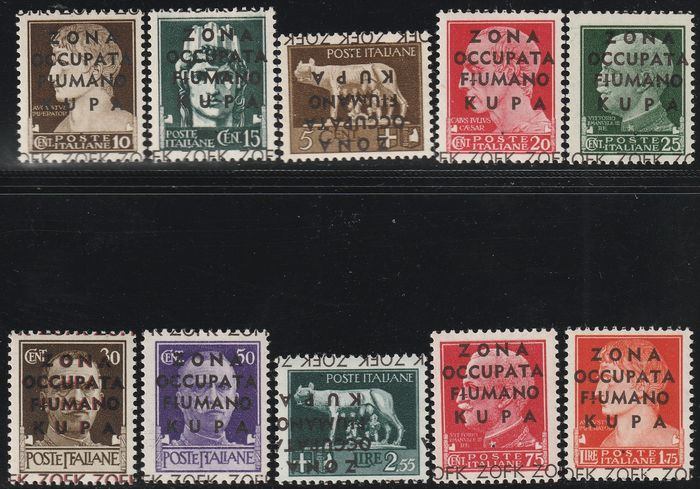Fiumano Kupa-Gebiet 1941 - Not issued, complete set with 4 varieties, centred, intact, luxury, certified rarity - Sassone S.58a - NN.15/24