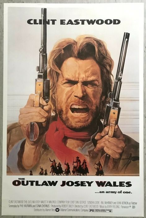 The Outlaw Josey Wales (1976) - Clint Eastwood - Poster, Iconic Art - Commercial release One Sheet (100x70 cm) - 1990's