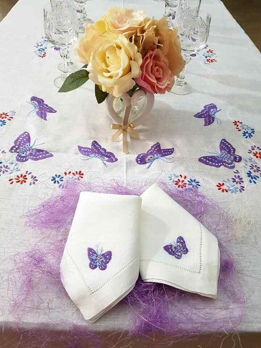 Spectacular !! pure linen tablecloth x 12 with hand embroidery - 270 x 175 cm - Lino