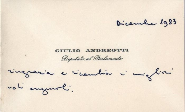 Giulio Andreotti - Autograph; Signed Business Card of President of the Council of Ministers plus Envelope - 1983