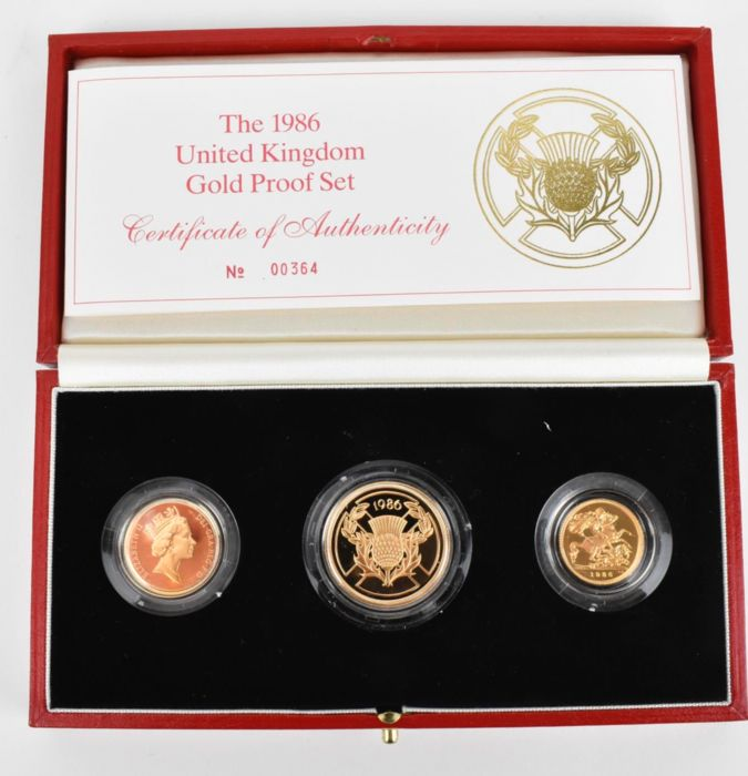 Royaume-Uni. Gold Proof Set (1, 2 pounds and half soverigns) 1986, 3 coins