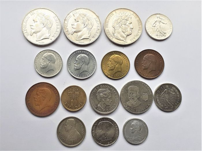 Welt. Lot various coins 19th and 20th century (16 pieces) incl. silver