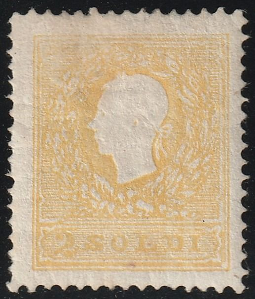 Antike italienische Staaten - Lombardo Veneto 1859 - 2nd issue 2 s. yellow 2nd type, centred, mint with full gum, rare, with several expert's reports - Sassone N.28