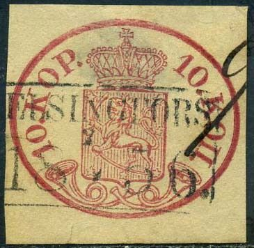 Finnland 1856 - 10 K. with postal cancellation and cancellation written in pen 2