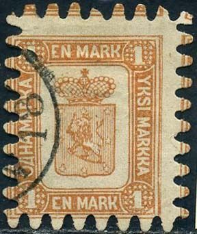 Finnland 1866 - Coat of arms, 1 M. yellow brown - Unificato 10
