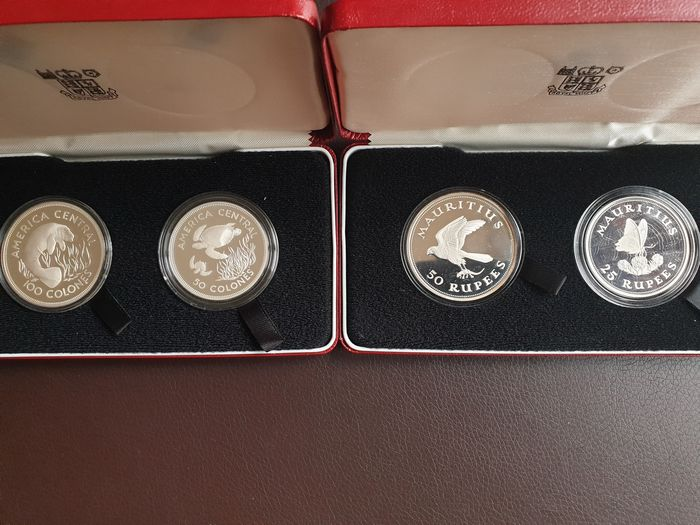 Costa Rica, Mauritius. 50 and 100 Colones 1974 + 25 and 50 Rupees 1975 Proof commemorative (4 coins) in sets