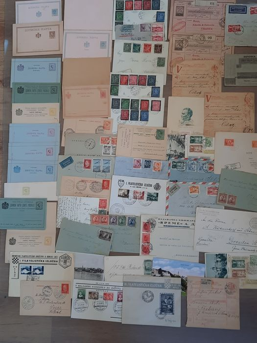 Jugoslavia 1919 - Yugoslavia cards with printed values, letters, parcel cards with i.a. Montenegro, Serbia