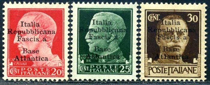 """Royaume d'Italie 1943 - Atlantic base - 3 values with the variety """"Fascis a"""" instead of """"Fascista"""" - Sassone N. 8f/10f"""