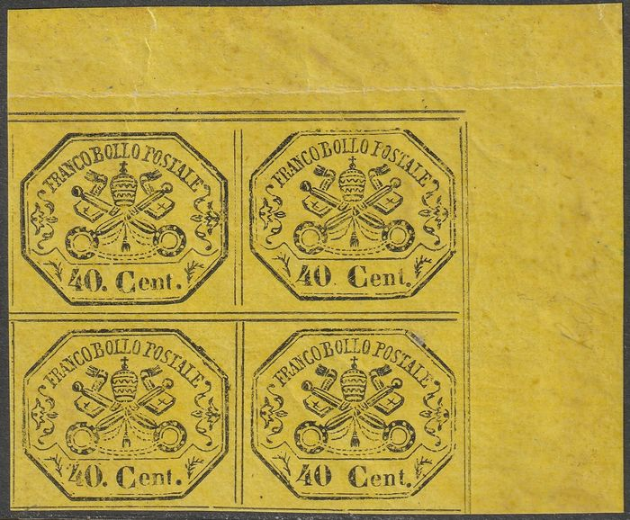Italiaanse oude staten - Pauselijke Staat 1867 - 2nd issue 40 c. yellow, block of four with wide sheet corner and good margins, mint with full gum, - Sassone N.19