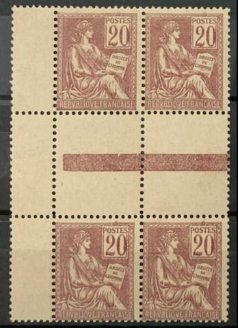 Frankreich 1900 - 20 cents MOUCHON, rare and spectacular block of 4 INTERPANES! Value estimation: €800 - Yvert 113