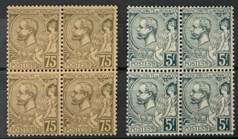 Monaco 1885 - 5 Francs dark green-grey and 75 cents olive-brown / buff in block of 4, very fresh, VG, value - Yvert 45 et 47