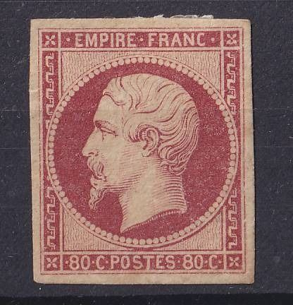 Frankreich 1854 - 80c carmin Empire, imperforate, a very fine new* copy - Yvert 17A
