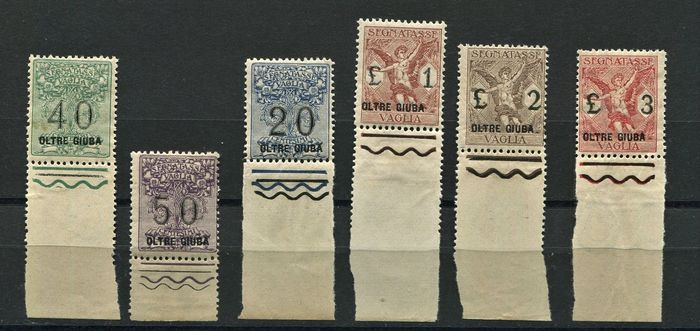 Jubaland italienne 1925 - Postage-due stamps for postal order, 6 values, all sheet margin, mint and intact - Sassone N. 1/6