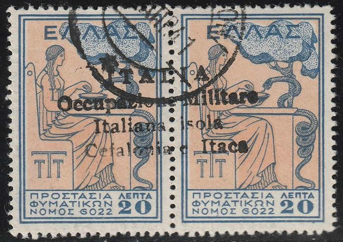 Professions - Céphalonie et Ithaque 1941 - Handmade issue of Argostoli, charity 20 + 20 l. in pair, used, very rare, certified - Sassone N.83