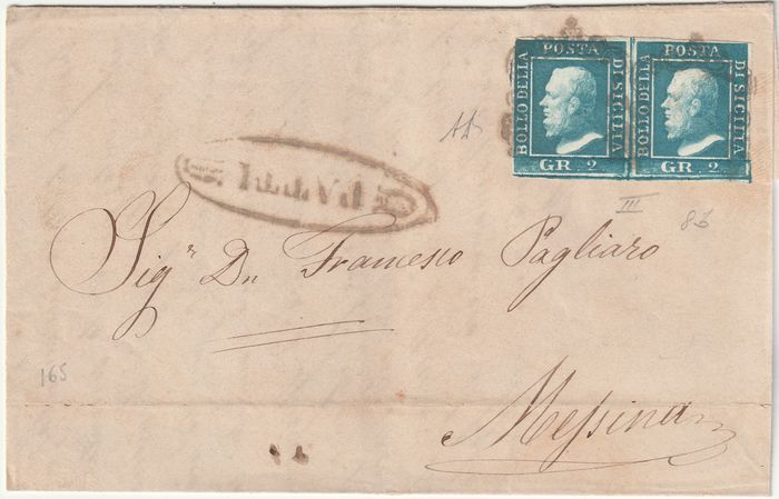 Italian Ancient States - Sicily 1859 - 2 gr. pair on letter from Patti pt. 10 to Messina, very rare, with expertise - Sassone N.8b