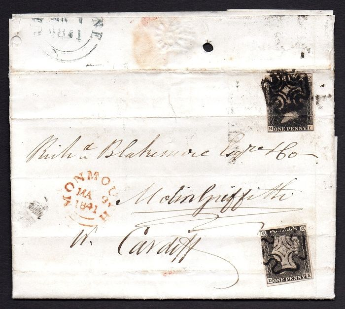 Großbritannien 1840 - QV 1d Black Plate 5 and Plate 1A on Entire to Cardiff and Re-Directed to Monmouth - Stanley Gibbons 2