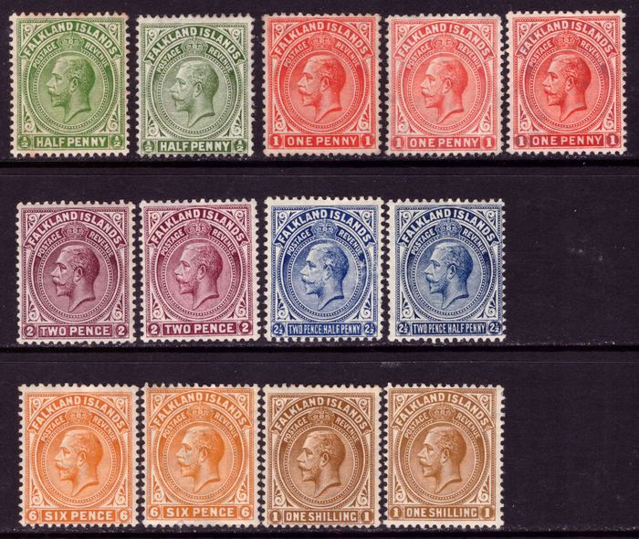 Falklandinseln 1912/1920 - King George V set with shadows - Stanley Gibbons