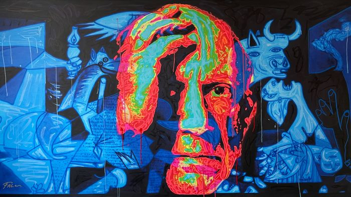 Joaquim Falco (1958) - Picasso thinks about Guernika. Fluor painting