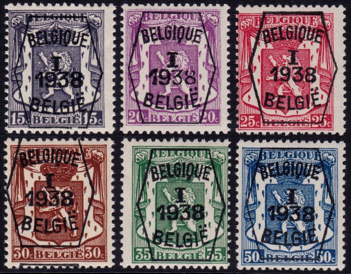 Belgien 1938 - Heraldic lion pre-cancelled with overprint type A - OBP / COB PRE333/338