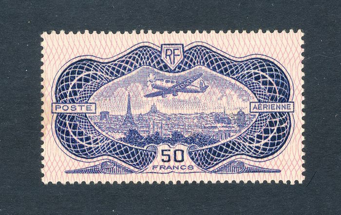 France 1936 - Rare French airmail stamp No. 15b, mint* - Yvert 15 b