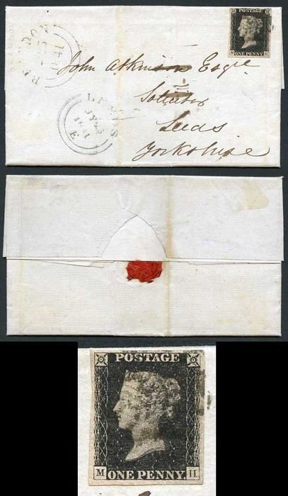 Großbritannien - Penny Black (MH) Four margins plate 5 on entire from Brandon to Leeds