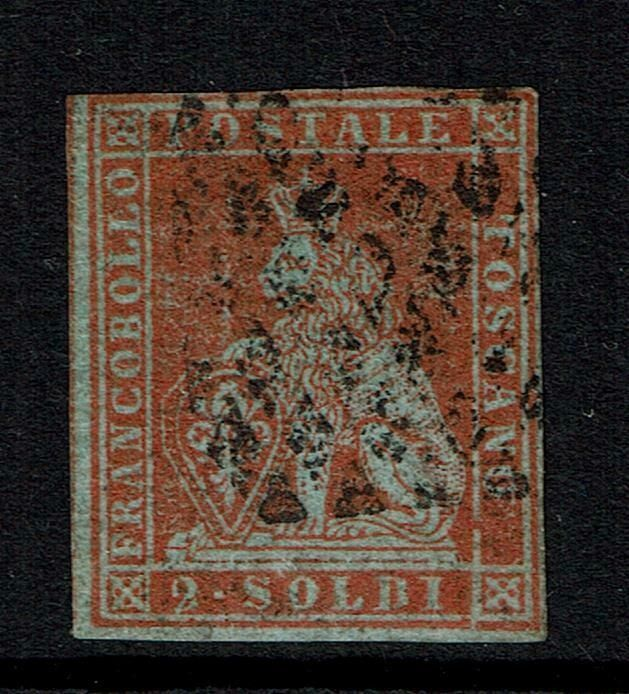Italy Ancient States 1851 - Tuscany, 2 soldi scarlet on light blue, cancelled - Sassone N. 3