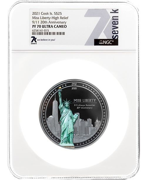 """Cook Islands. 25 Dollars 2021 """"MISS LIBERTY"""" PF70. 20 Anniversario 9/11 By Miles Standish, 5 Oz"""