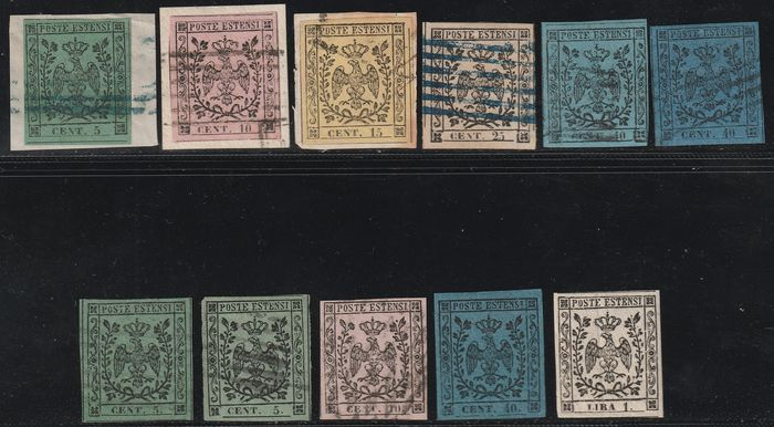 Anciens états italiens - Modène 1852/54 - 1st + 2nd issue, the two complete sets, rare, 2 certificates - Sassone NN.1/11