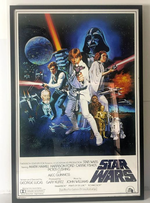 Star Wars Episode IV: A New Hope - Signed by Dave Prowse (+) as Darth Vader - Handtekening, Poster, Framed , with COA  & Proof