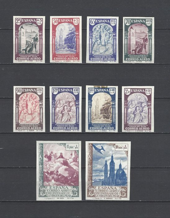 Spanje 1940 - Our Lady of the Pillar complete imperforated set - Edifil 904s/13s