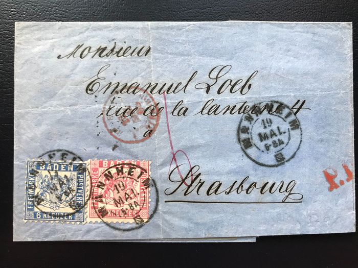 Baden 1865 - Michel no. 18, 19a on a letter to France